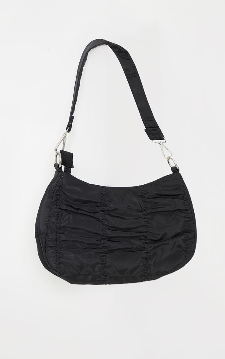 Black Small Ruched Shoulder Bag 3