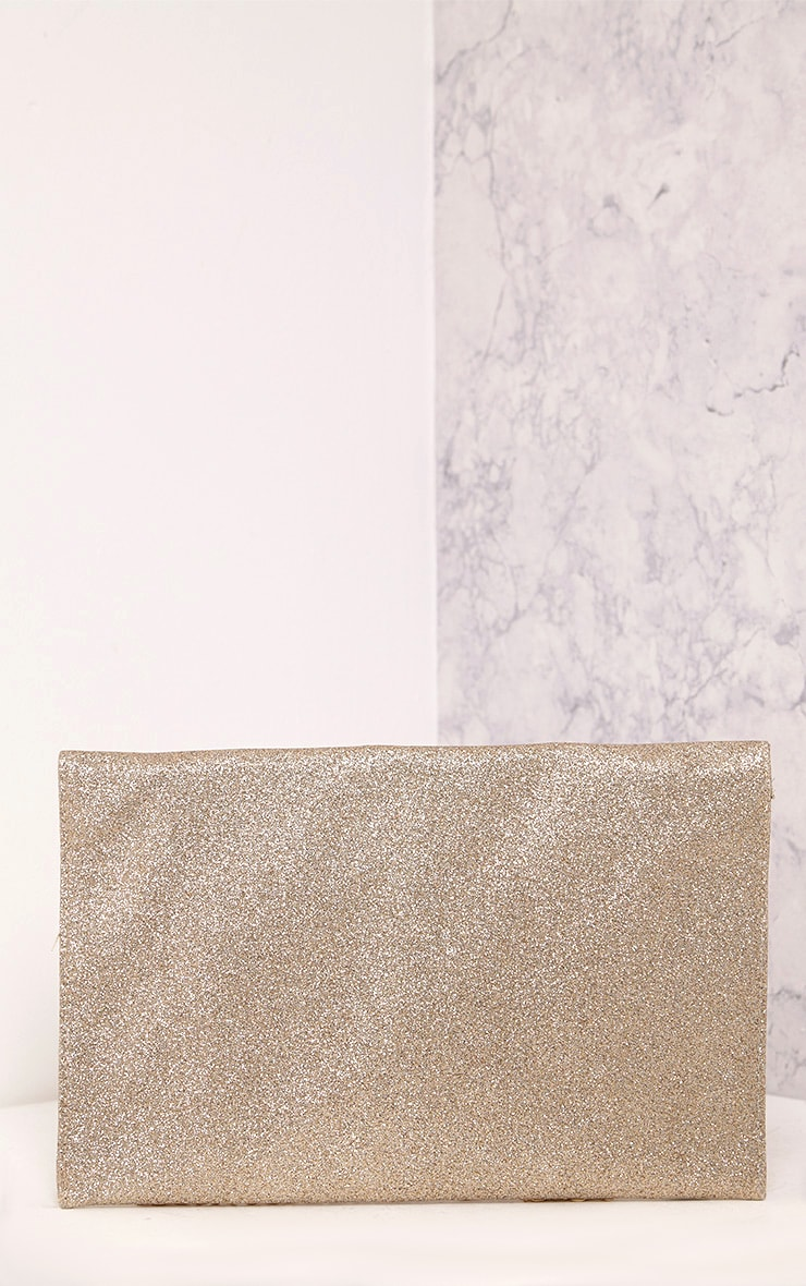 Paige Rose Gold Glitter Clutch Bag 4