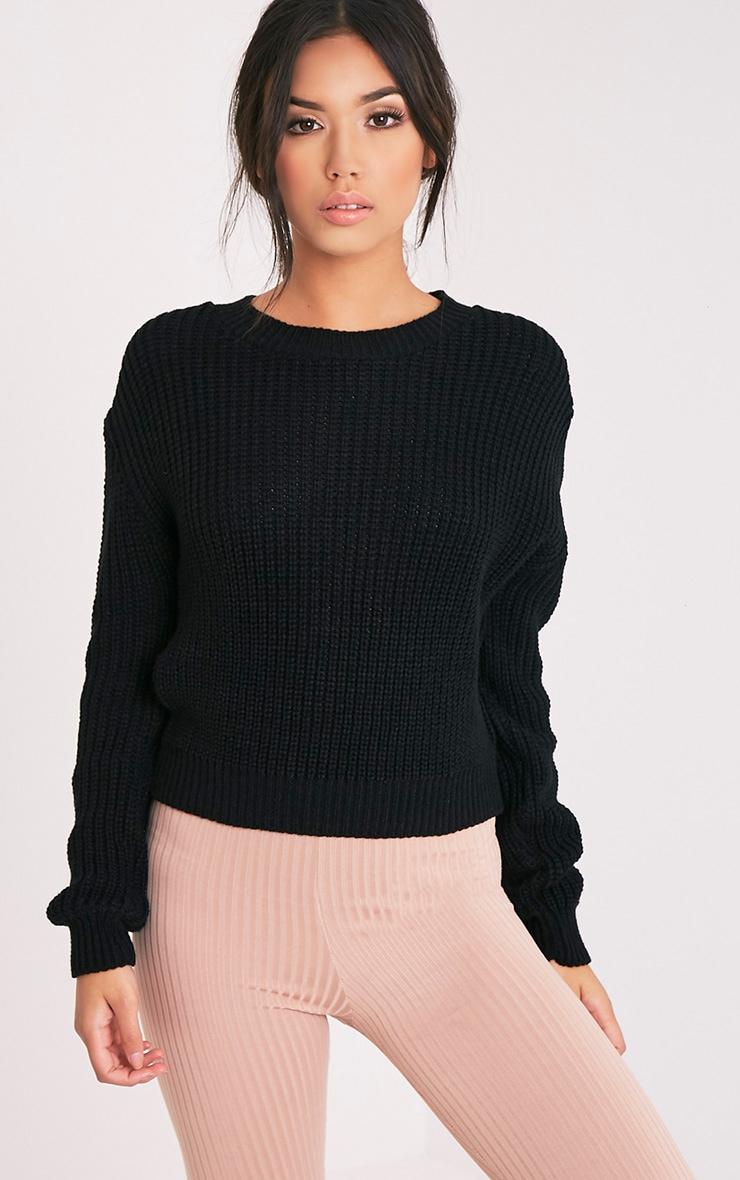 Cara Black Knitted Crop Jumper 5