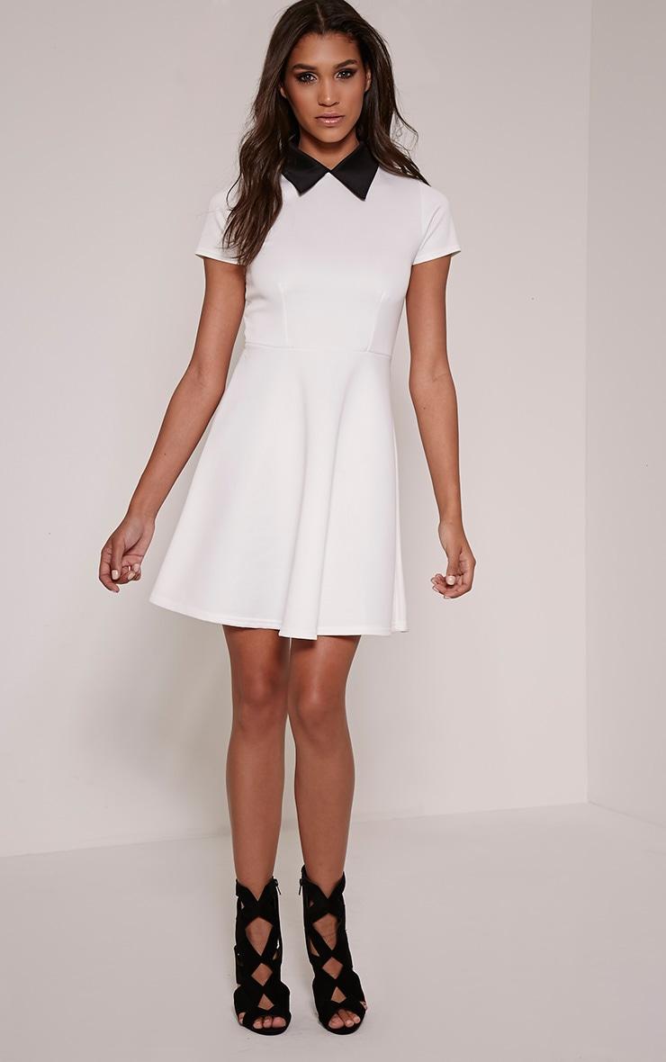 Melanie Cream Collar Detail Skater Dress 4