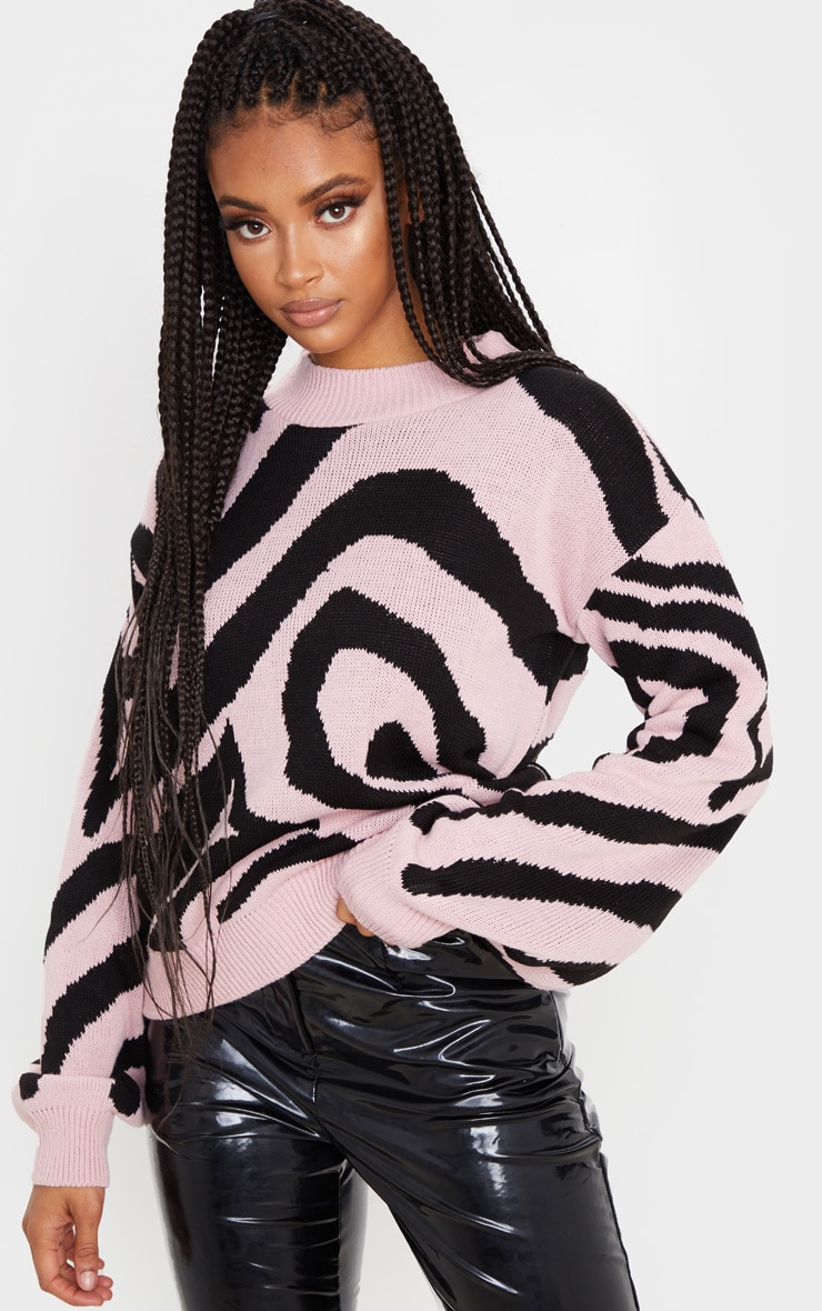 Rose Zebra Stripe High Neck Sweater 5