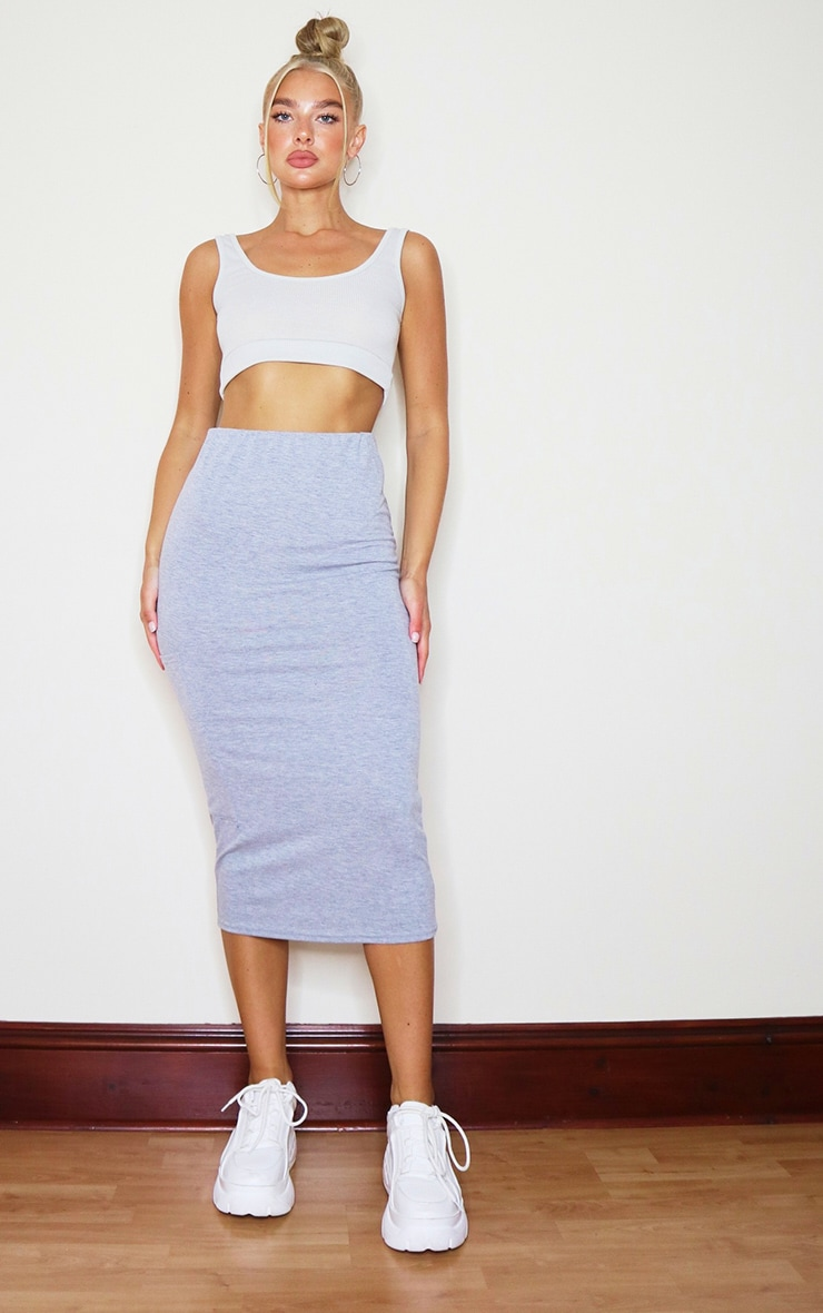 Grey Marl Jersey Pocket Detail Midaxi Skirt 1