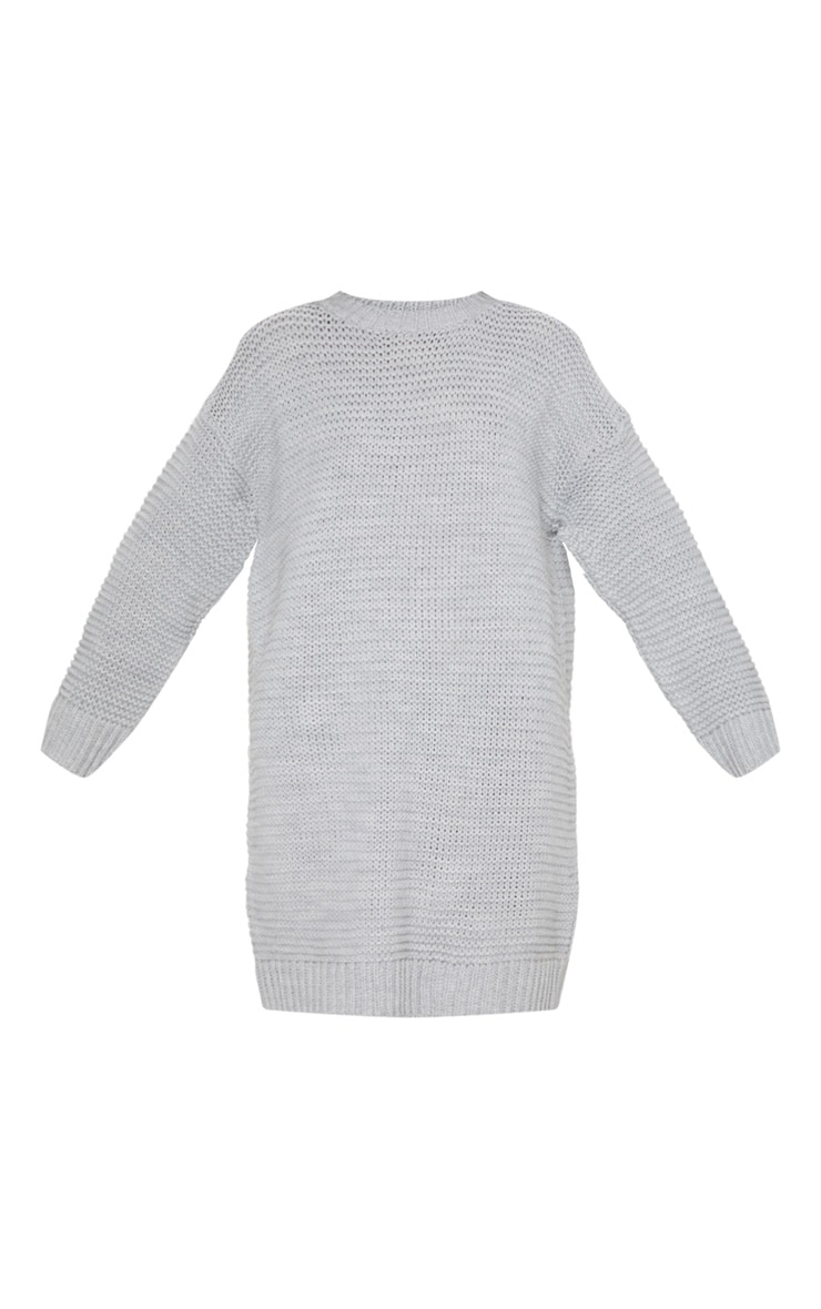 Grey Chunky Knitted Jumper Dress 3