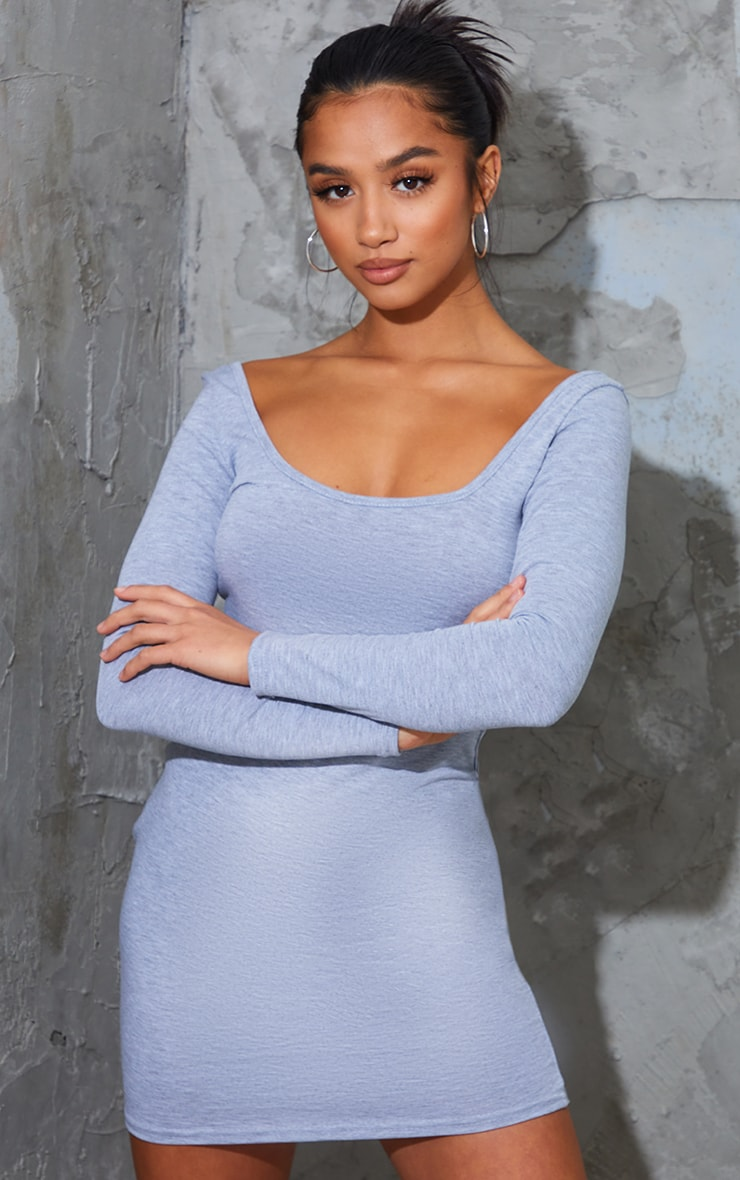 Petite Grey Marl Long Sleeve Jersey Mini Dress 4