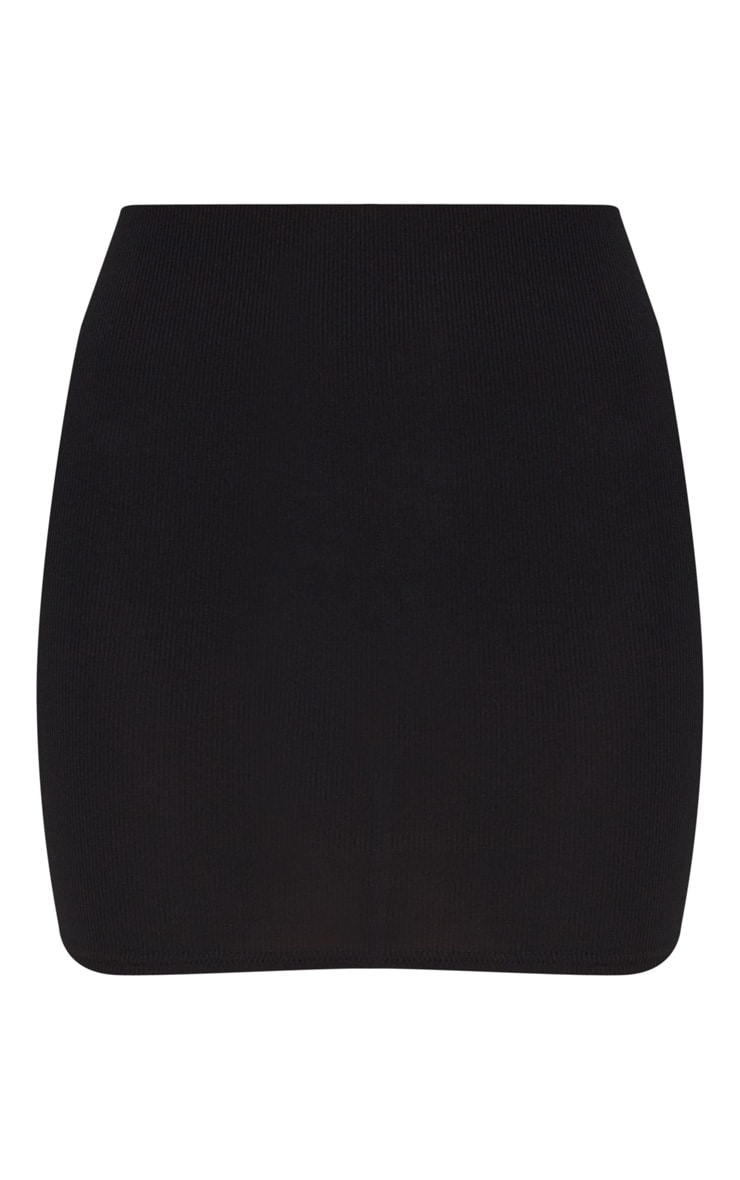 Black High Waisted Ribbed Jersey Mini Skirt 3