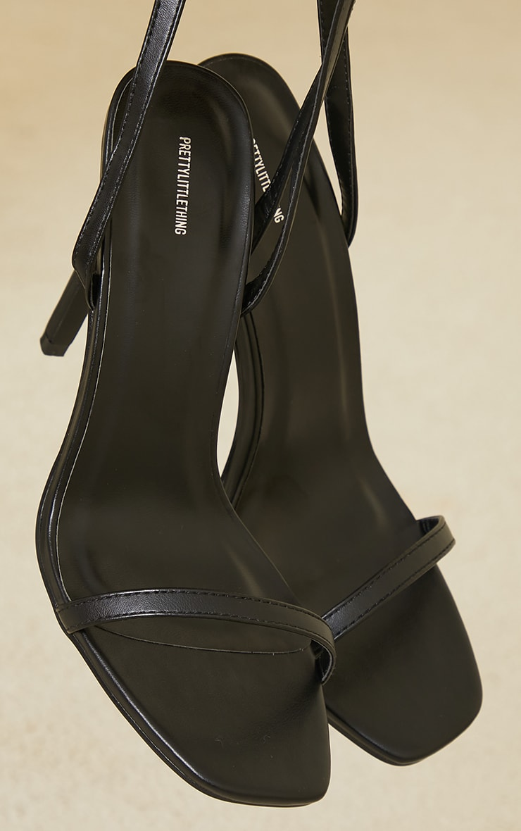 Black PU Square Toe Barely There Strappy High Heels 3