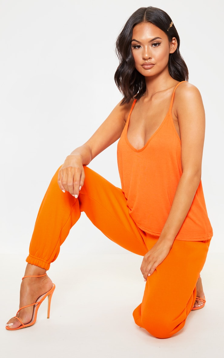 Basic Tangerine Jersey V Neck Swing Vest  4