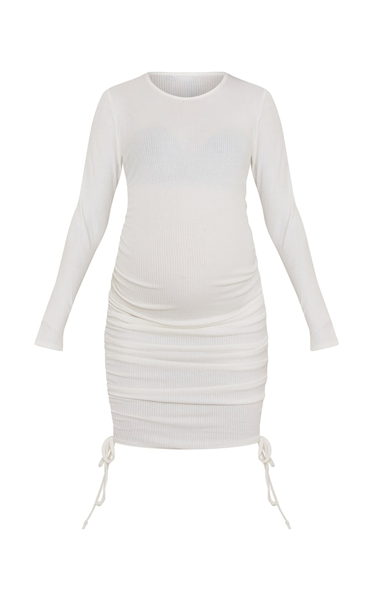 Maternity Cream Brushed Rib Ruched Bump Long Sleeve Mini Dress 5