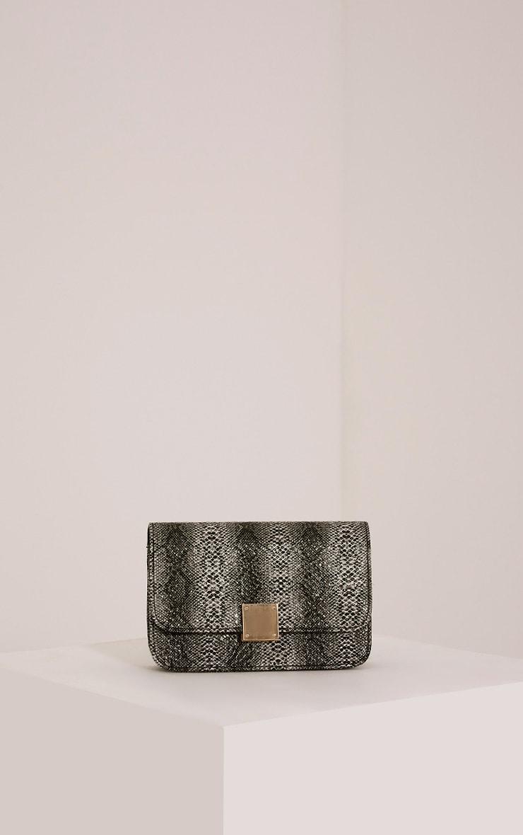 Harriet Black Snake Print Shoulder Bag 1