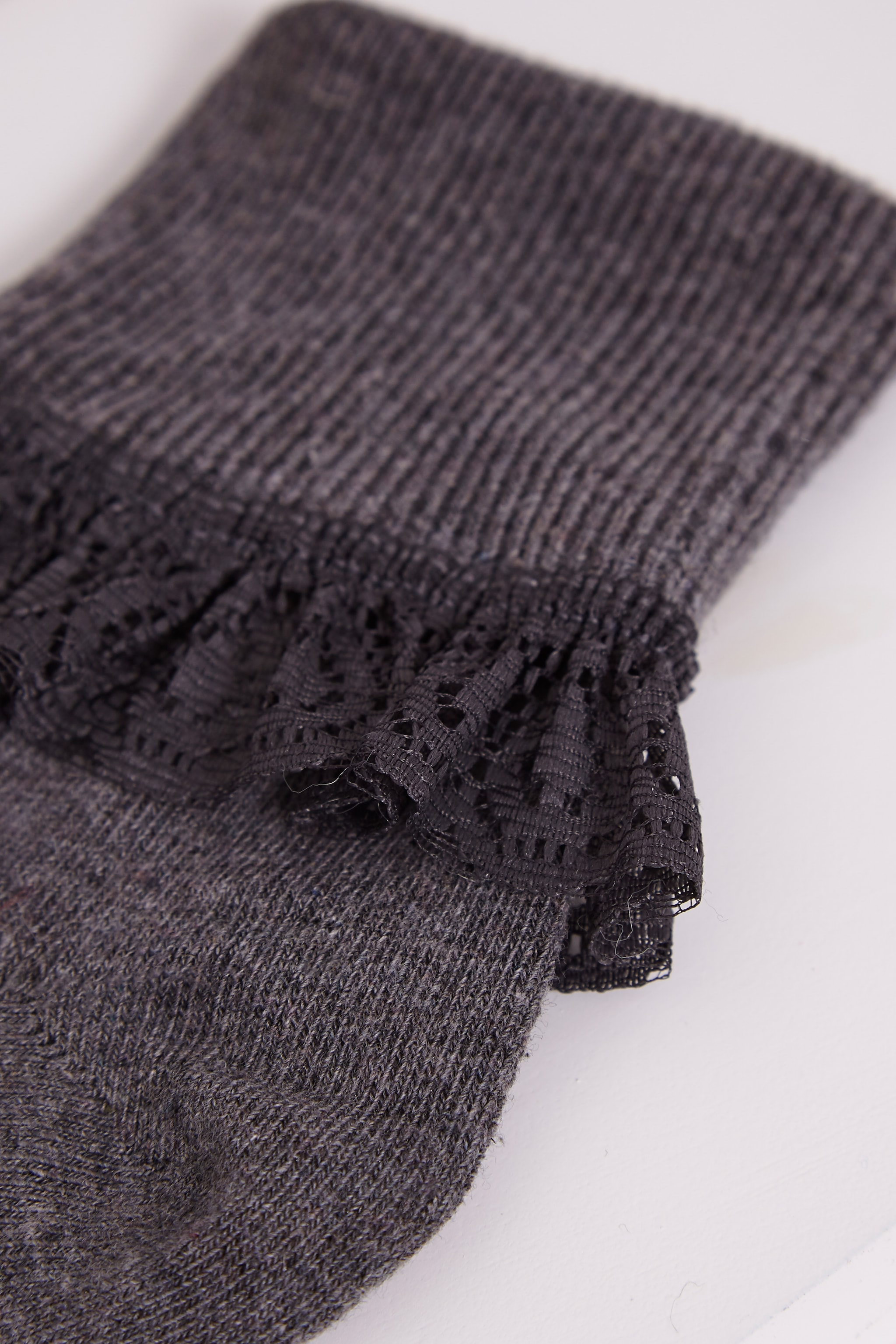 Kimber Grey Lace Trim Ankle Sock 3