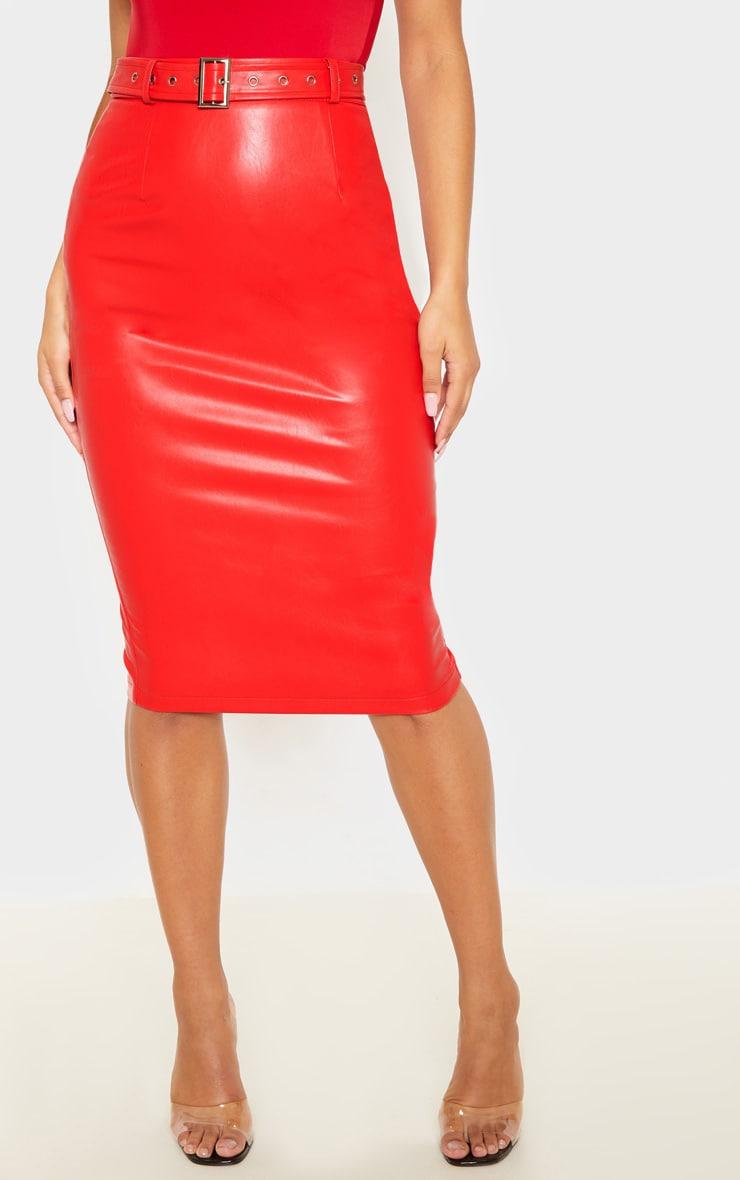 Red Faux Leather Belt Midi Skirt 2