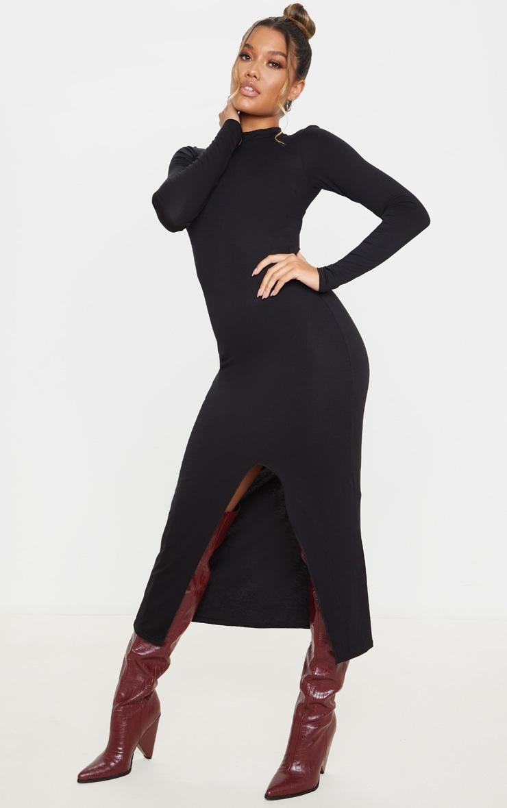 Black Long Sleeve High Neck Split Front Midi Dress 3