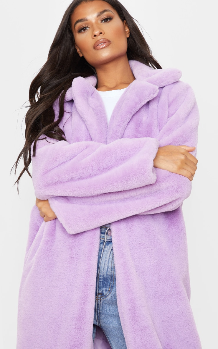Lilac Maxi Faux Fur Coat 5