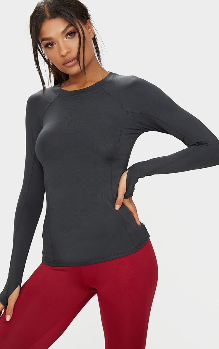 Charcoal Long Sleeve Gym Top  1