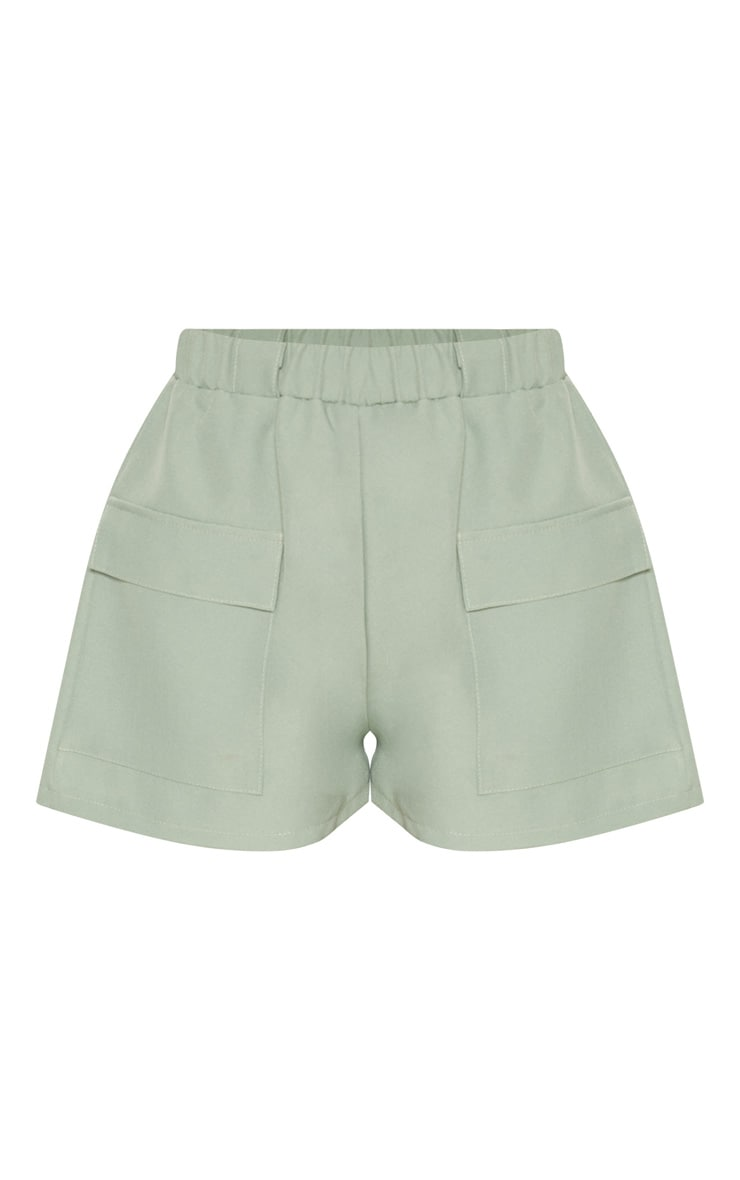 Petite Khaki Pocket Detail Cargo Shorts 3