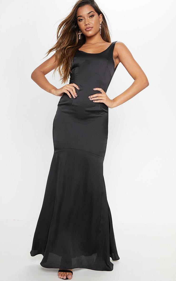 Black Satin Thick Strap Fishtail Maxi Dress 4