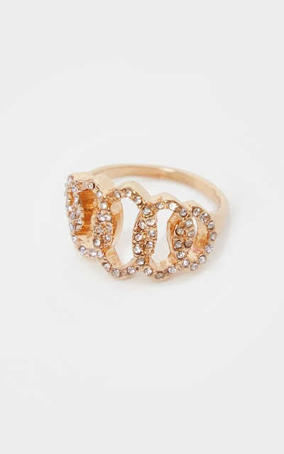 Gold Diamante Loops Ring