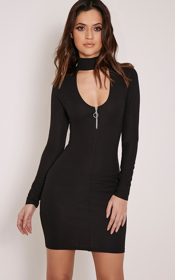 Marlene Black Circle Zip Detail Ribbed Bodycon Dress 1