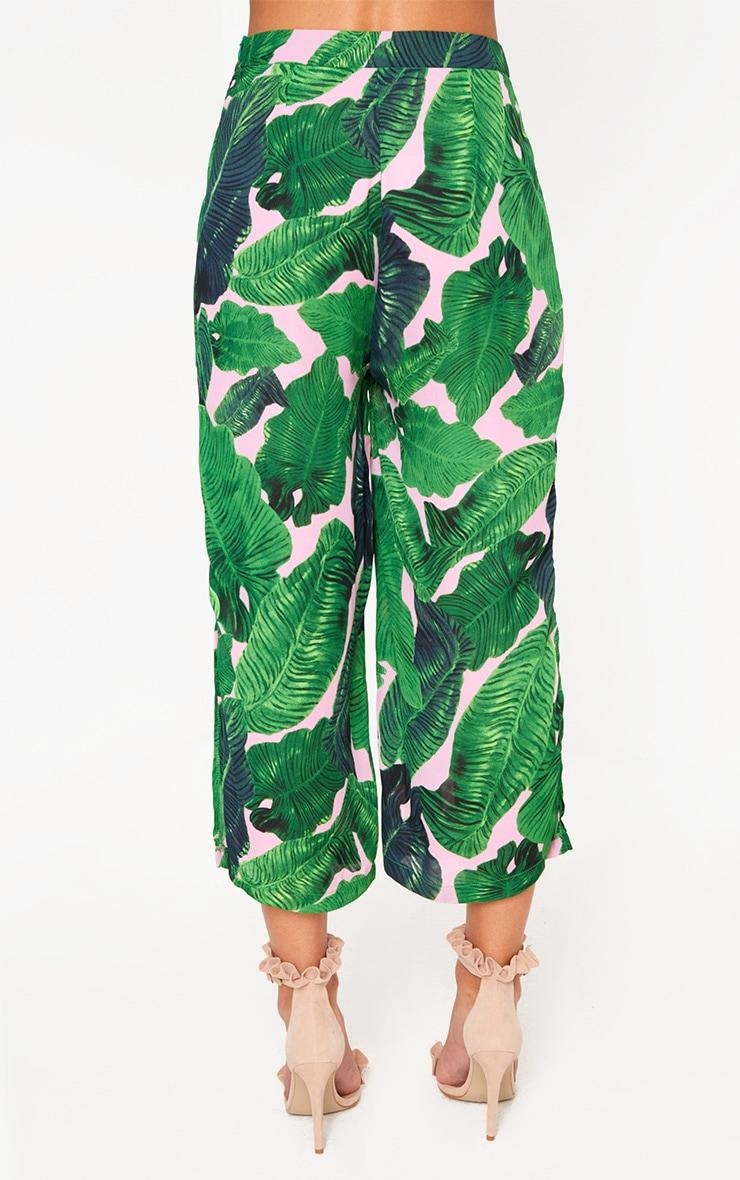 Pink Palm Print Side Split Culottes  4