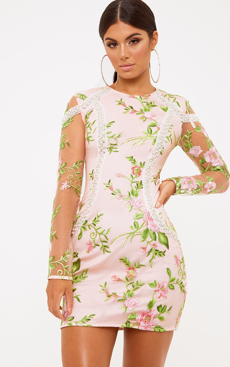 Premium Blush Embroidered Lace Pearl Trim Bodycon Dress 2