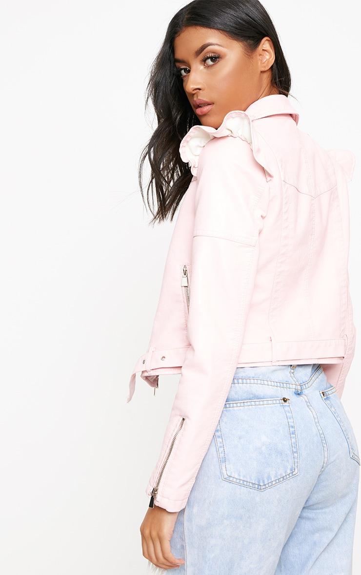 Baby Pink Frill Shoulder PU Biker Jacket 2