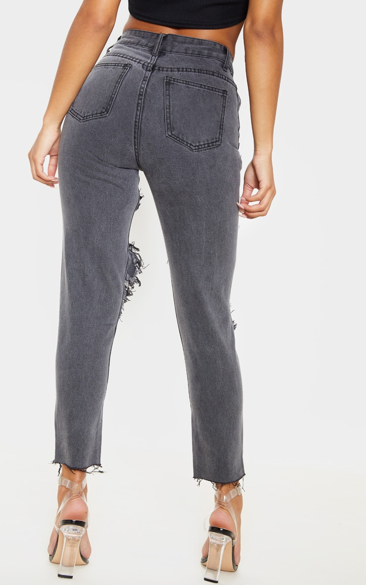 Washed Black Extreme Distressed Mom Jeans 4