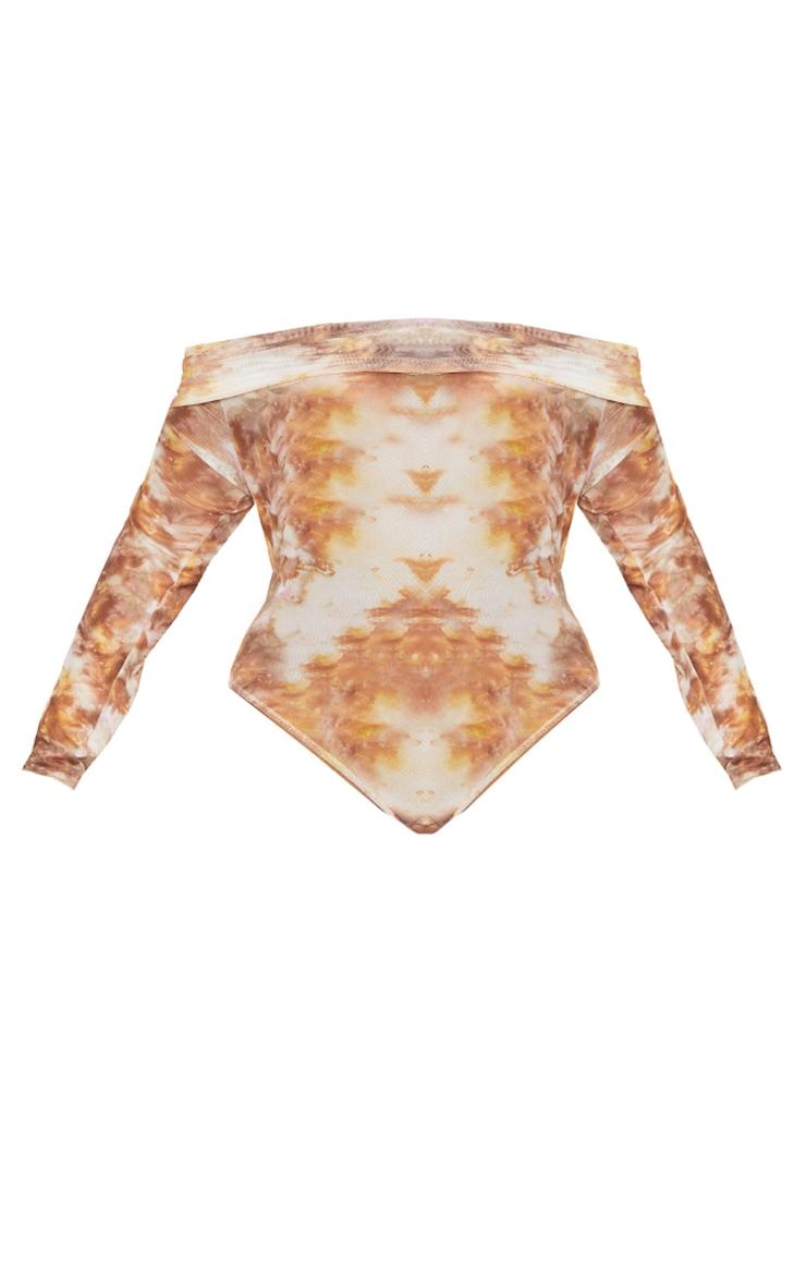 Plus Brown Tie Dye Print Mesh Bardot Bodysuit 5