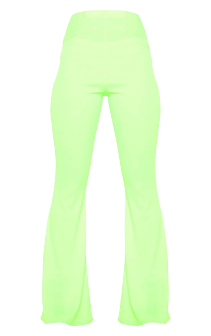 Neon Lime Ribbed Flared Trouser  3