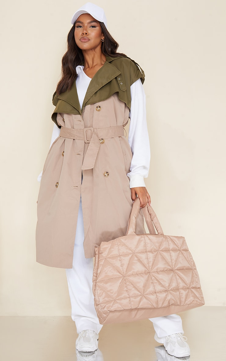Camel Contrast Panel Sleeveless Trench 1