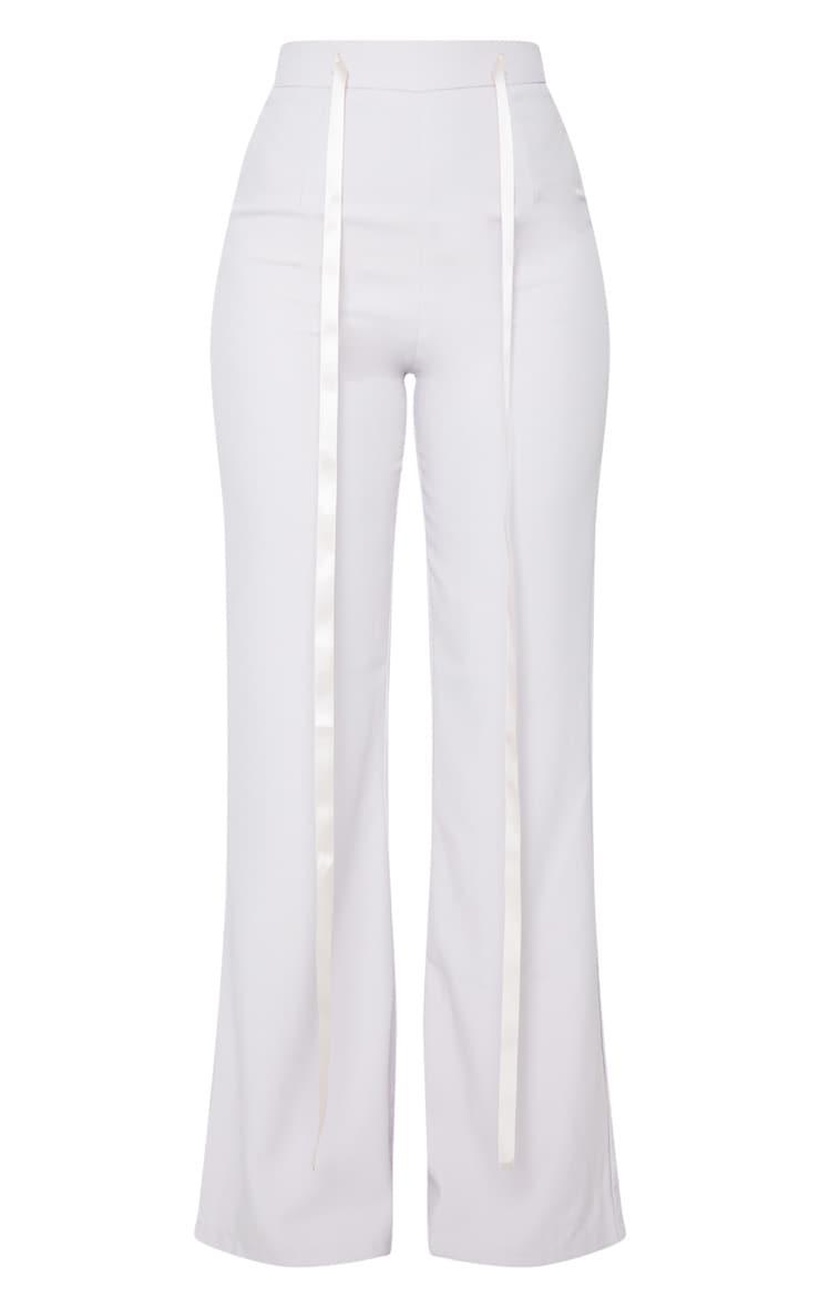Light Grey Woven High Waist Satin Tie Detail Flared Pants 5