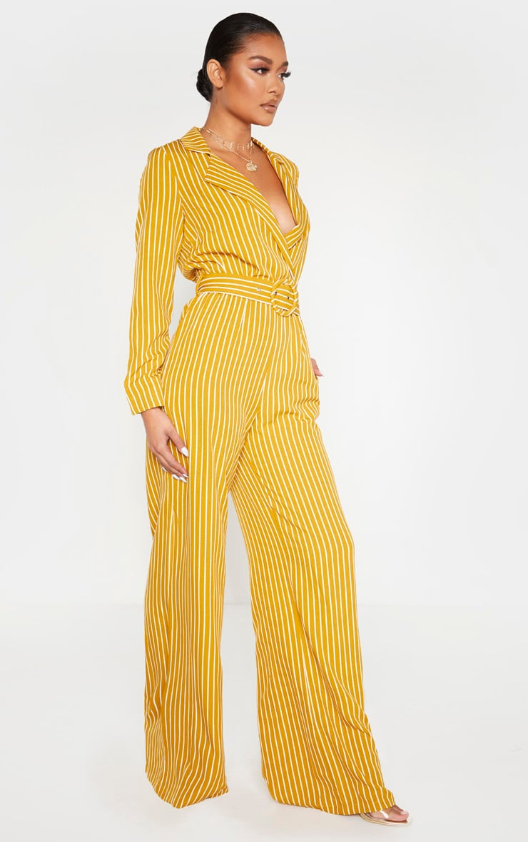 Mustard Pinstripe Belt Detail Wide Leg Jumpsuit 3