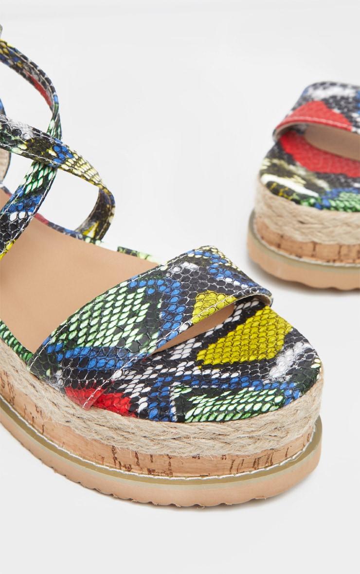 Green Snake Print Espadrille Flatfrom Sandal  4