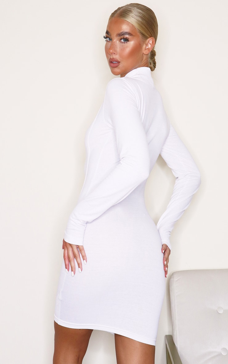 White High Neck Binding Detail Long Sleeve Bodycon Dress 2