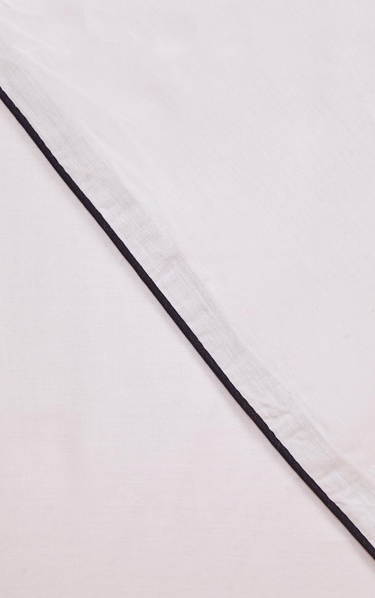 White With Black Piping Plain Double Duvet Set 4