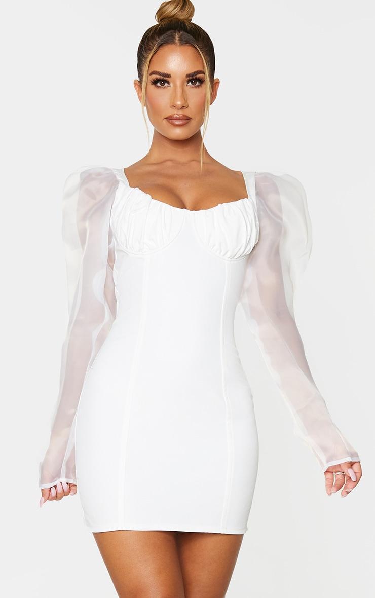 White Organza Sleeve Underwired Bust Bodycon Dress 1