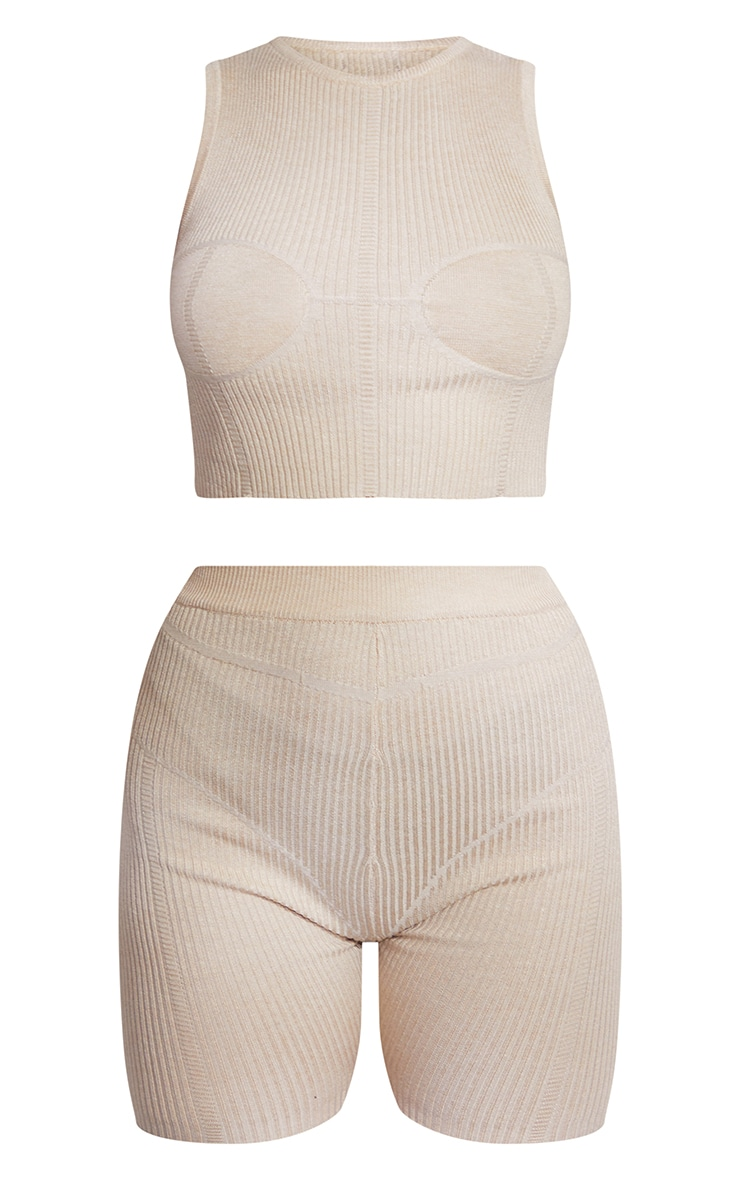 Stone Premium Ribbed Knitted Bust Detail Short Set 8