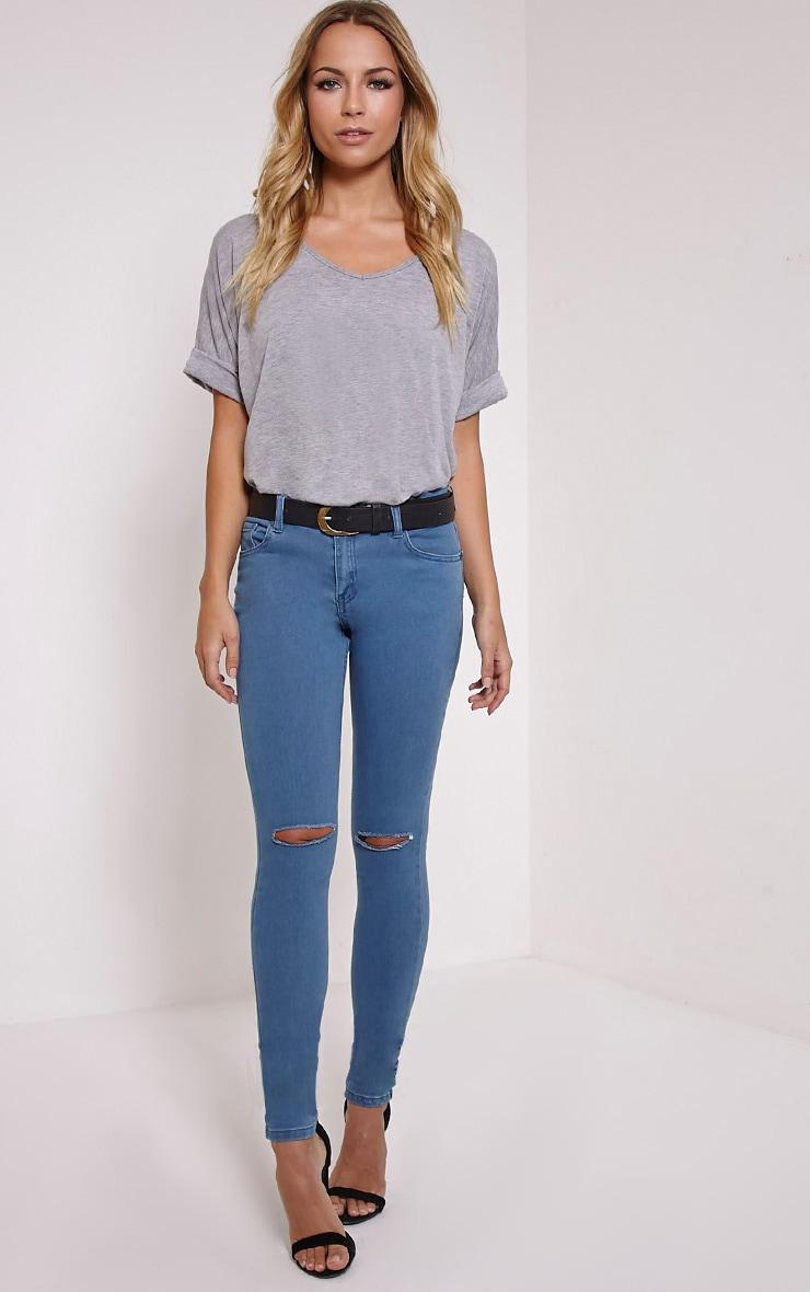 Ulyana Blue Mid Wash Knee Slit Skinny Jeans 1
