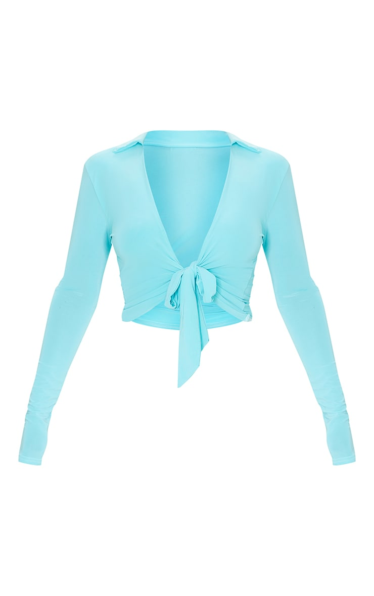 Bright Blue Slinky Tie Front Shirt 5