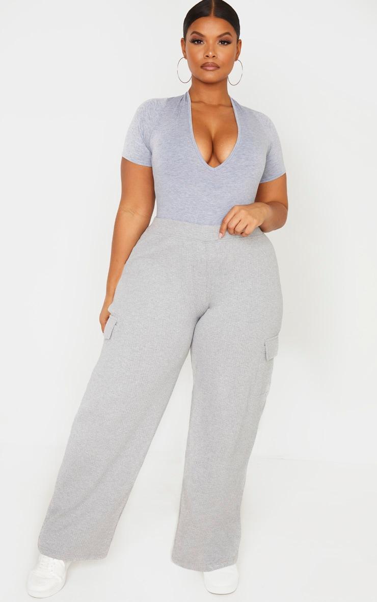 Plus Grey Rib Pocket Detail Wide Leg Pants 1