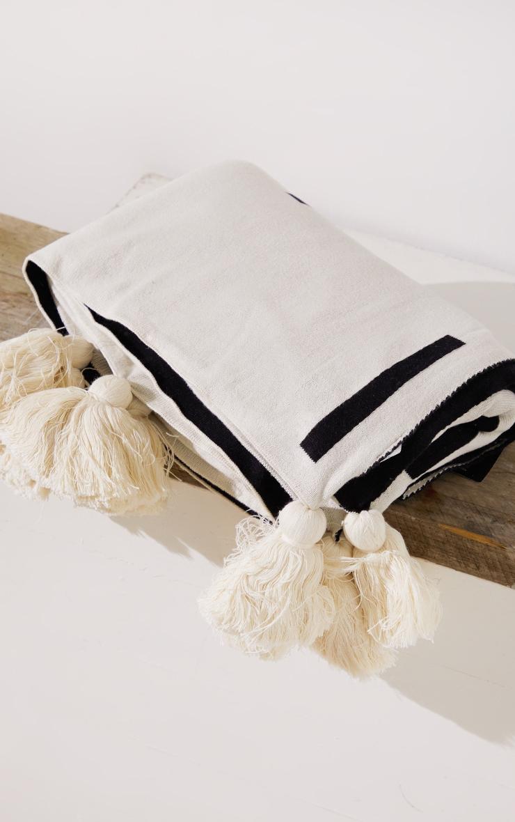 Cream Soft Knitted Reverse Dash Tassel Throw 2
