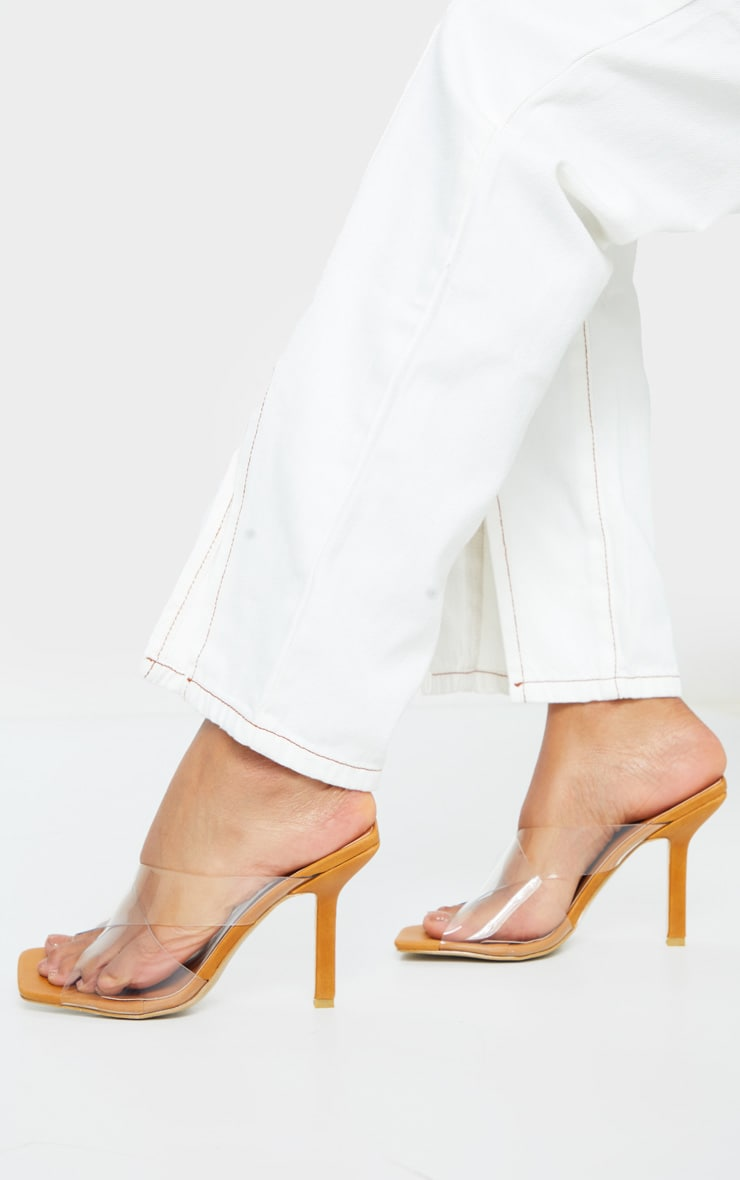 Sand Clear Cross Over Twin Strap Square Toe Mule Heels 2