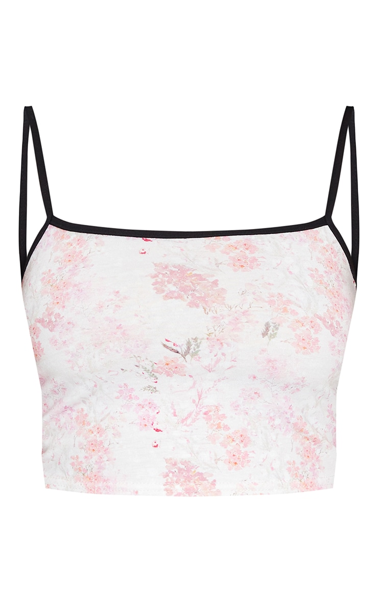 Pink Jersey Contrast Floral Printed Crop Cami Top 5