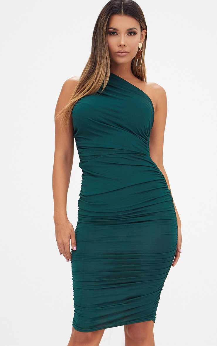 Emerald Green Slinky Ruched One Shoulder Longline Midi Dress 1