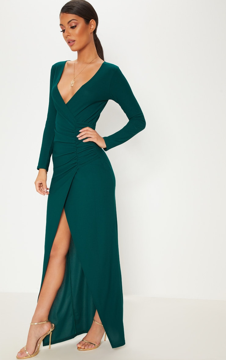 Emerald Green Plunge Ruched Split Leg Maxi Dress 4