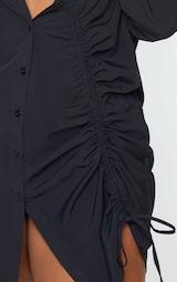 Plus Black Ruched Front Shirt Dress 4