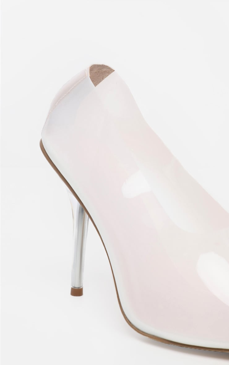 White High Vamp Clear Heel Court Shoe 4