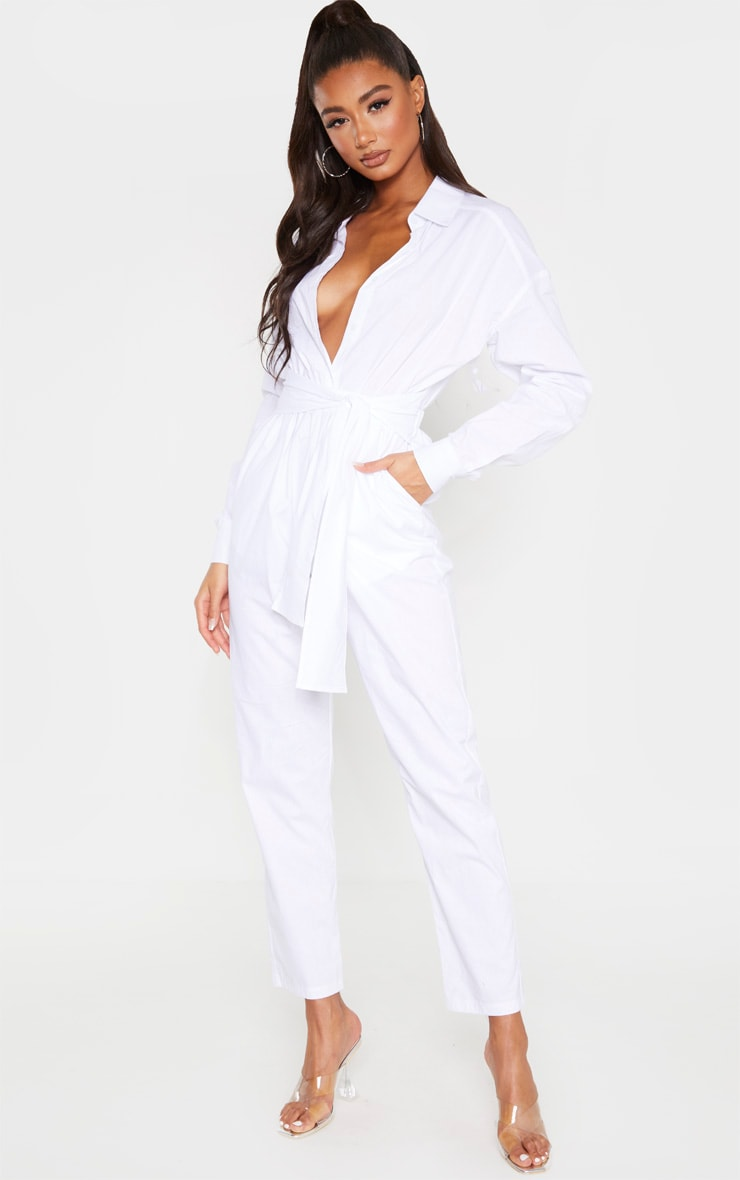 White Tie Waist Shirt Jumpsuit 4