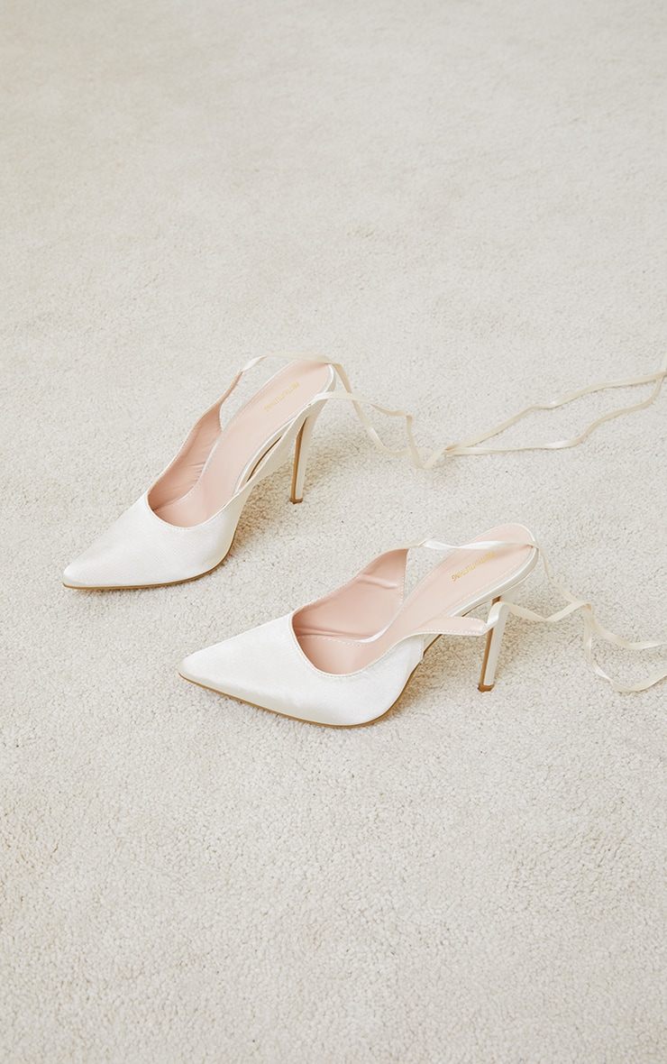 Cream Ankle Tie Court Shoes 3