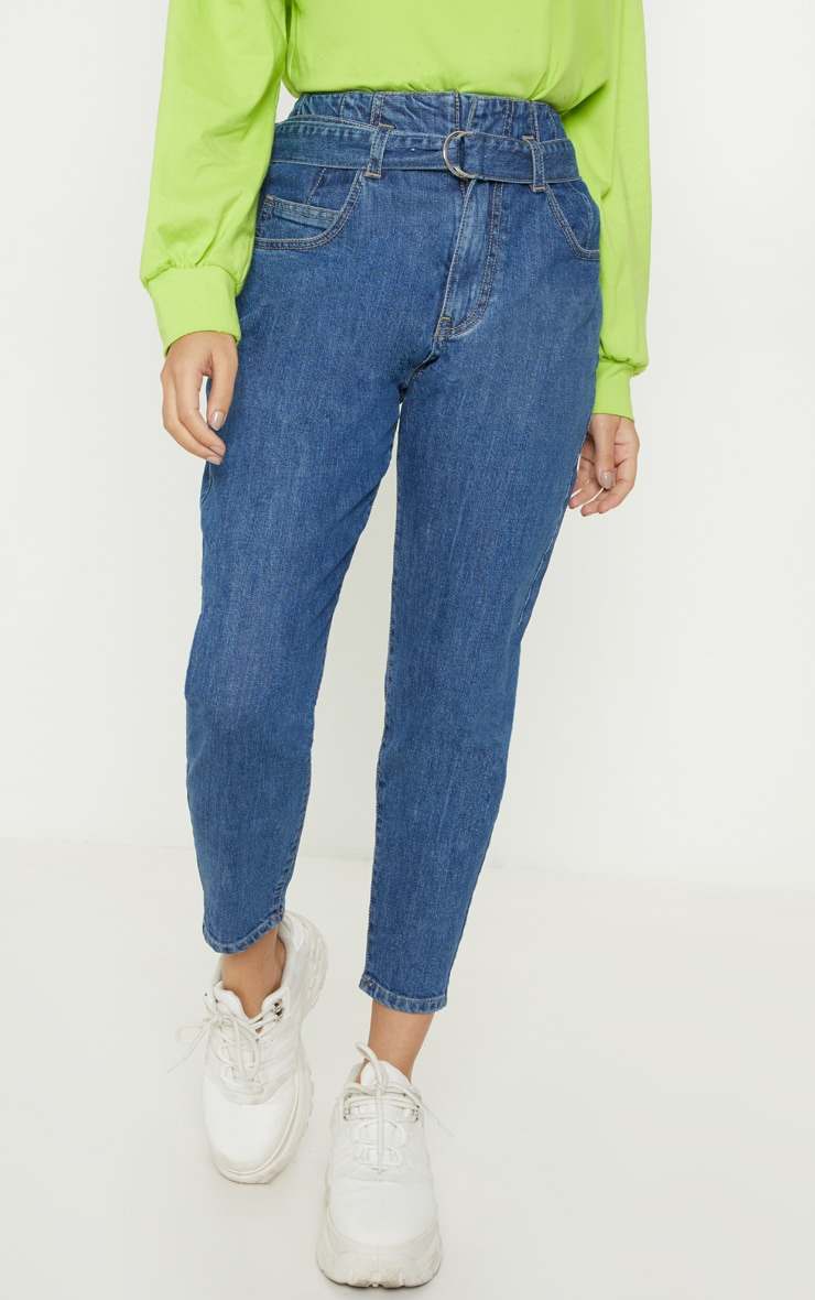 Petite Mid Wash Belted Mom Jeans 2
