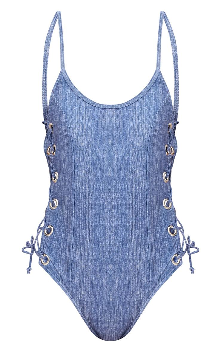 Hollie maillot de bain bleu effet jean 3